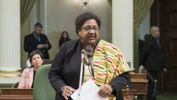 Assemblymember Dr. Shirley Weber speaking at the Black History Month reception